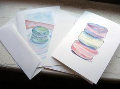 watercolor macaron cards