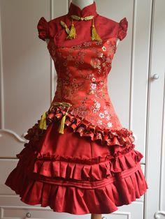 Sweet Red Cascading Ruffles Sleeveless Satin Lolita One-Piece - Lolitashow.com