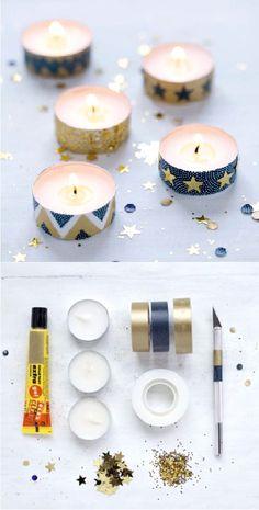 Le centre de table – déco table Picard.  Coller du masking-tape autour de bougies chauffe-plat et les agrémenter de paillettes.