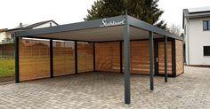 Carport Holz Metall Wuppertal · Flachdach · modern Design · STAHLZART