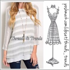 Last One! Monochromatic Open Back Blouse Super cute and unique white & grey striped monochromatic blouse. Featuring a open back fully lined with a loose fit white tank. Made of a cotton/poly spandex blend. Size S, M, L Threads & Trends Tops Blouses
