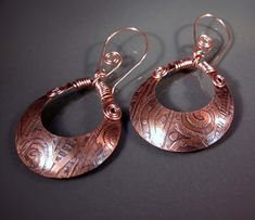 10% off for our Pinterest friends! Use coupon code PINTEREST at checkout! -- READY to SHIP Handmade Etched Copper Earrings CPE65
