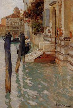 Fritz Thaulow, En el Gran Canal, Venecia, 1885. Óleo sobre tabla, Colección particular