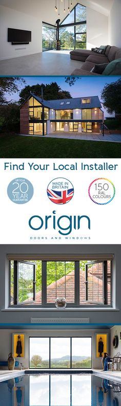 Our partners are highly trained and experienced in installing all Origin products, undertaking regular training days and receiving ongoing technical support from us on our products old and new. Discover who your local installer is today. Home Interior Design, Exterior Design, Hm Home, Design Apartment, Aluminium Windows, Design Blog, House Extensions, Design Hotel, New Builds