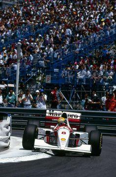 1993 Monaco GP - Ayrton Senna using every inch of the narrow streets in his McLaren Ford on the way to his fifth consecutive Monaco win in the legendary race. Mclaren Formula 1, Formula 1 Car, F1 Wallpaper Hd, Monaco Grand Prix, Mclaren Mp4, Mc Laren, Triumph, F1 Racing, Drag Racing