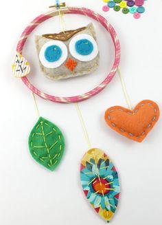 Felt Owl Embroidery Hoop Dreamcatcher in Pink Orange  Teal by Lova Revolutionary - lovahandmade on Etst