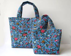Mother & Daughter Bag Set, Mother and Daughter Gift, Gift for Sisters, Grandmother / Granddaughter gifts, Matching Bag Set, Blue Floral Bags by RachelMadeBoutique on Etsy https://www.etsy.com/au/listing/504418748/mother-daughter-bag-set-mother-and