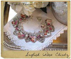 LAS USE MY RED ENGLISH BOWLS English rose broken china bracelet.
