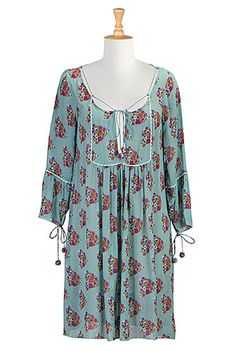 I <3 this Lace up chiffon print dress from eShakti