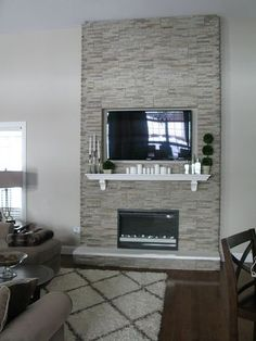 DIY Fireplace Stones over wood frame, electric inset fireplace - Fireplace Today Inset Fireplace, Grey Fireplace, Home Fireplace, Fireplace Remodel, Fireplace Inserts, Fireplace Design, Fireplace Makeovers, Fireplaces, Fireplace Ideas