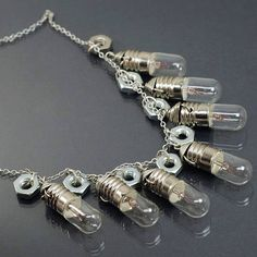 Steampunk Jewelry- Contemporary Jewelry, Silver Light Bulb Necklace, Steampunk Necklace, Hex Nut Necklace, Hardware Industrial Jewelry