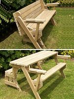 1 piece 2-in-one bench and picnic table