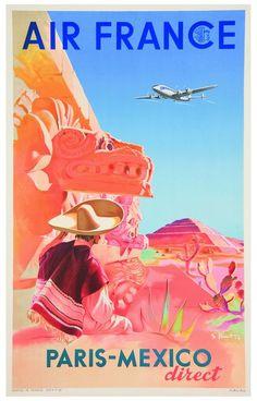Vintage Travel Poster Air France - Paris/Mexico - (Erdinç Bakla archive)