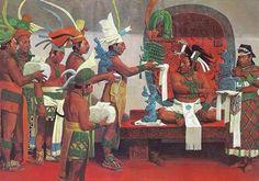 Una excelente recreación de la corte maya de Lakamha o Palenque. La coronación de ajaw Pakal II
