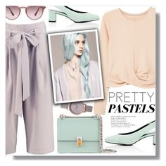 """Pretty in Pastels"" by yoo-q ❤ liked on Polyvore featuring MANGO, Stella Luna, Boohoo, Olivia Burton, Fendi, Ray-Ban, pastel and contestentry"