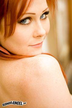 Burningangel misti dawn tattooed redhead strips on sofa