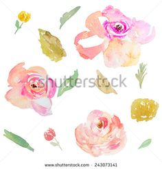 Watercolor Flowers and Leaves - stock photo