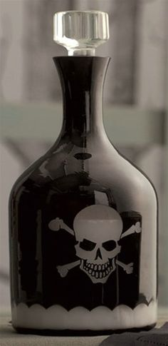 Skellington Cut Crystal Decanter $80 I think I could try and make one.....Maybe