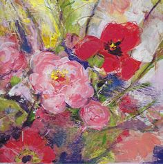 Original acrylic Flowers  ' Indigo Pop ' CeliaandOlive