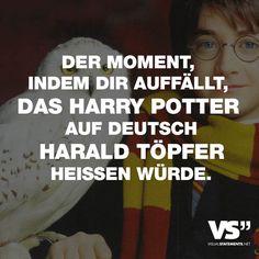 Visual Statements® Der Moment, indem dir auffällt, das Harry Potter auf deutsch Harald Töpfer heißen würde. Sprüche/ Zitate/ Quotes/ Spaß/ witzig/ lustig/ Fun