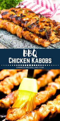 Kabob recipes are the best in the summer! Easy BBQ Chicken Kabobs are to die for! Tender, juicy and brushed with sweet BBQ Sauce make these Chicken Kabobs the BEST! Easy Bbq Chicken, Chicken Kabobs, Healthy Grilling, Grilling Recipes, Healthy Food, Grilled Chicken Recipes, Healthy Chicken Recipes, Easy Dinner Recipes, Easy Meals