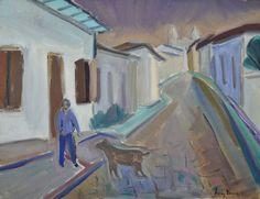 """LUIZ VERRI - (1912 - 1990)    Título: """" Carlos Bracher em Tiradentes """"  Técnica: óleo sobre tela  Medidas: 50 x 65 cm  Assinatura: canto inferior direito e dorso  Data/Local: 1985"""