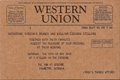 Western Union invitation..thinking of doing this for a bridal shower invite
