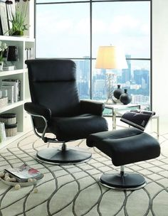 Homelegance 8550BLK-1 Caius Collection Color Black Bonded Leather Match