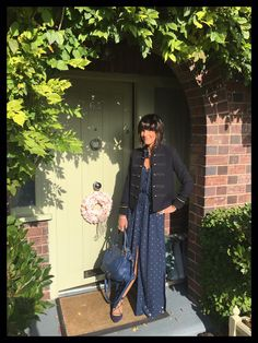 Styling a maxi dress with a military jacket www.mymidlifefashion.com