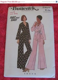 Sale 1970's Butterick Fashion One Sewing Pattern by EarthToMarrs, $3.75