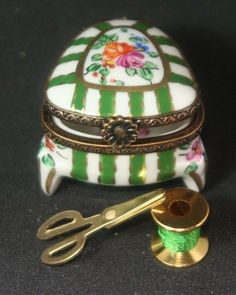 Vintage Limoges French Porcelain Hand Painted Trinket Box Sewing Motif-signed