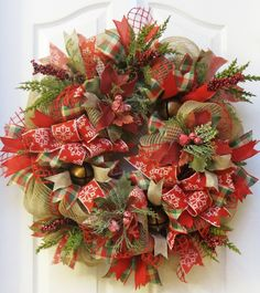 Rustic Christmas Wreath, Jingle Bell Wreath, Burlap Christmas Wreath, Deco Mesh Christmas, Winter Wreath, Rustic Holiday Wreath, poinsettias - pinned by pin4etsy.com