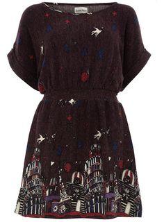 Purple cityscape dress
