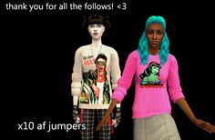 """Two Sims 2 sims, one very pale, one with dark brown skin, wearing jumpers and looking excited. Text at top reads, """"Thank you for all the follows! <3"""" Text at bottom reads, """"x10 af jumpers""""."""