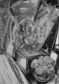Ольга Богомолова. Подсвечник и розы. 2017. Уголь, пастель. 61х43