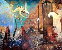 Mural (Forbidden Planet) by Shaun Tan Shaun Tan, Akira, Comic Artist, Tans, Children's Book Illustration, Art Inspo, Concept Art, Cool Art, Drawings
