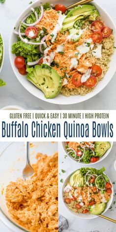 These healthy Buffalo Chicken Quinoa Bowls are a game-changer! Spicy shredded buffalo chicken is served over a fluffy bed of quinoa and topped with creamy avocado slices, juicy tomatoes, crunchy lettuce and cool ranch dressing. #buffalochicken #gamedayrecipes #chickenreecipes Buffalo Chicken Quinoa, Shredded Buffalo Chicken, Whole 30 Recipes, New Recipes, Cooking Recipes, Easy Chicken Recipes, Easy Healthy Recipes, Quinoa Bowl, Game Day Food