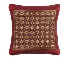 """Heirloom Tribal Jat Hand-embroidered Raw Silk Cushion Cover, 16"""" X 16""""https://sitaracollections.com/collections/cushion-covers/products/heirloom-tribal-jat-hand-embroidered-raw-silk-cushion-cover-16-x-16"""