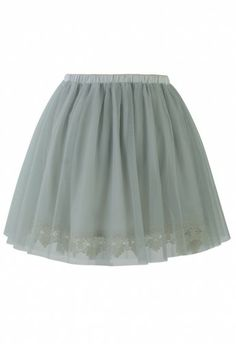 Fairy Tulle Skirt with Lace Trimming in Smoke