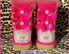 Custom Ugg Boots with Blinged Rhinestone Heels