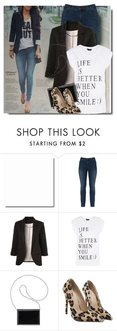 """""""Say What II: Statement T-Shirts"""" by breathing-style ❤ liked on Polyvore featuring Zizzi and Nine West"""