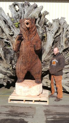 Jeff and a Bear he carved.