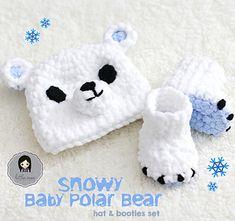snowy baby polar bear hat & booties set - Crochet Pattern by Doriyumi Cute Crochet, Crochet For Kids, Crochet Crafts, Crochet Projects, Bernat Baby Blanket, Blanket Yarn, Baby Blanket Crochet, Blankets, Loom Knitting