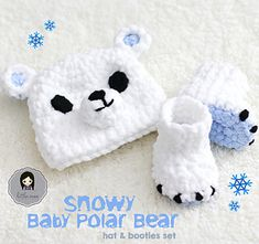 Brrrrr! It's getting cold out there! This polar bear set is sized for newborns / babies up to 3 months. It works up super quickly due to the super bulky yarn, so if you are in need of a quick baby shower gift, give this pattern a try! I also used the Bernat Baby Blanket yarn as it is super soft and fluffy!!