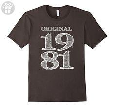 Men's Original Born Made 1981 35th Birthday 35 Years Old T-Shirt Medium Asphalt - Birthday shirts (*Amazon Partner-Link)