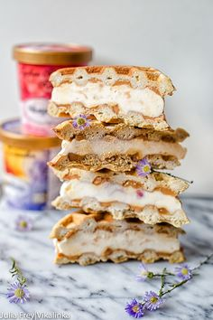 Nothing can beat homemade ice cream sandwiches except the sandwiches made with waffles, drizzled with dulce de leche and filled with the most delicious ice cream!