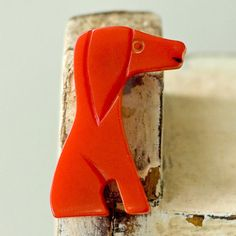 Bakelite Puppy Dog Red Pin Vintage by My3Chicks on Etsy, $64.00