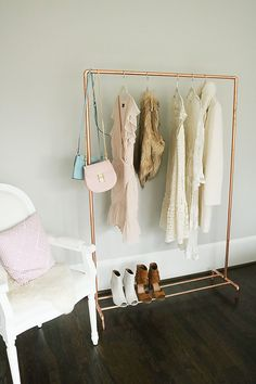 DIY Copper Clothing Rack Lately, I've become a little obsessed with copper pipe projects like my recent copper blanket ladder !  Working with copper pipes is actually really fun and the results are clean and modern.  I hope to bring you a few more copper pipe DIYs, but today  Read More