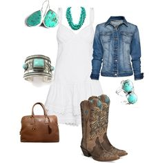 I love the concept of this outfit :)) I would tweak a few things tho ;) lol. #Western  White dress/boots and turquoise, created by cwatts1960 on Polyvore