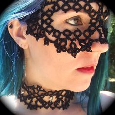 Tatted Lace Mask - Down In The Underground. $65.00, via Etsy.